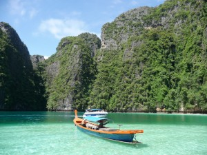 A Long Tail Boat at Phi Phi Island, Thailand