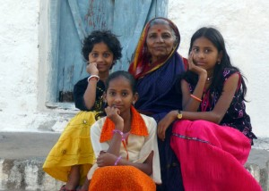 A proud grand mother with her grand daughters, Hampi