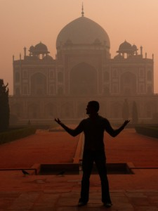 Silhouette in front of Humayans Tomb, Delhi