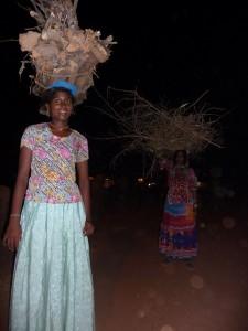 Indian women gather firewood at dusk, Goa