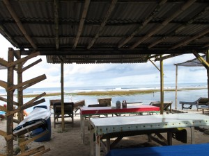 Looking out from Dedes Warung, Serangan Island