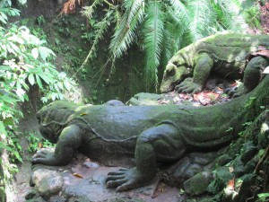 Statues of Komodo Dragons at the Monkey Forest