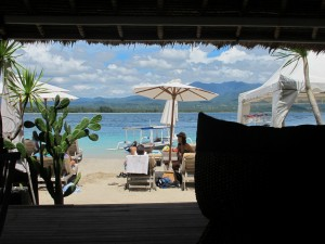 Looking out from Scallywags on Gili Air